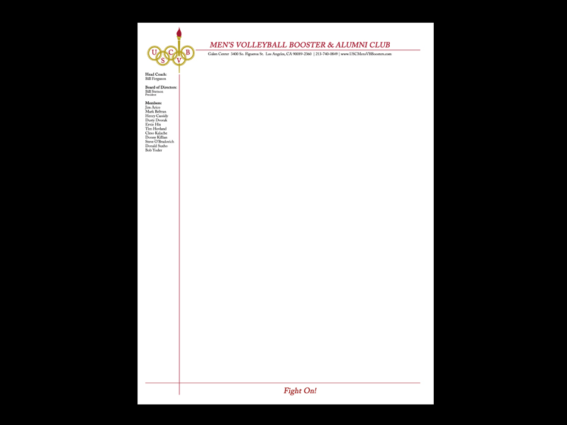 USC Mens Volleyball Letterhead